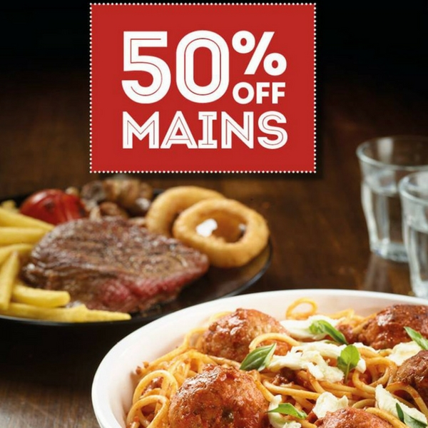 50% off mains at Frankie & Benny's